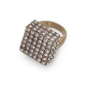 Lia Sophia Cubist Matte Gold Crystal Ring 10